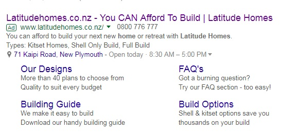 Latitude Homes search ads adwords extensions