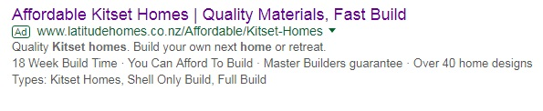 Latitude Homes search ads adwords